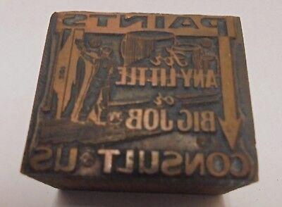 Vintage Printing Letterpress Printers Block Cut Paint Store Add