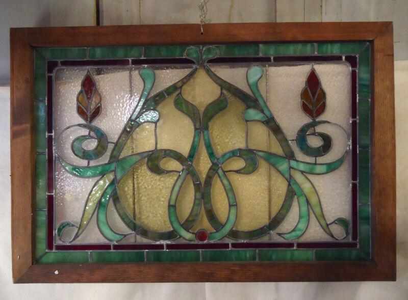 Vintage Antique Stained Glass Window Panel (1999)NS