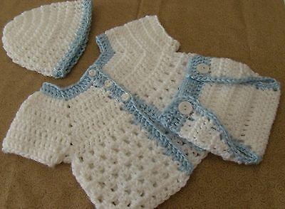Handmade Crochet Baby Boy Sweater,Hat, Diaper Cover 3 piece Set Newborn 6 Months