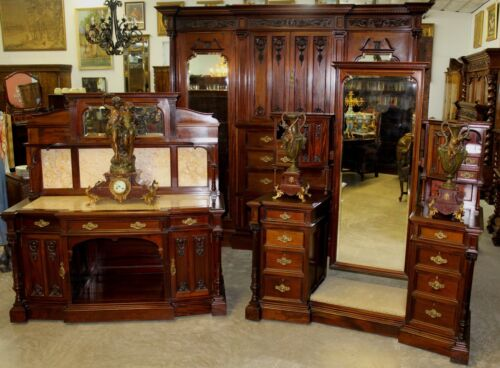 Antique Carved English Edwardian Solid Mahogany 4 Piece Bedroom Set W/ Bed C1890
