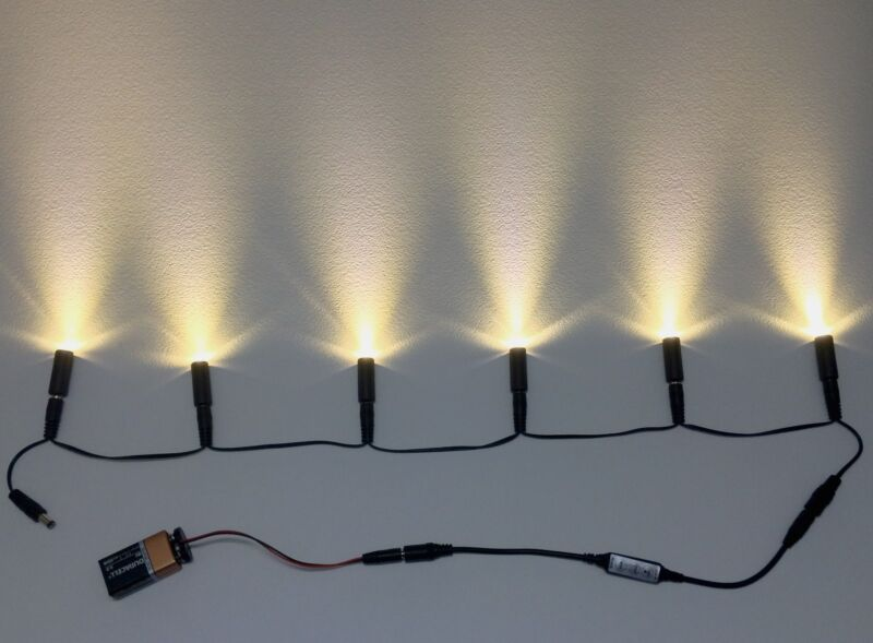6 LED warm white light cable & effects control & 9V clip props scenery MELWW6XD9
