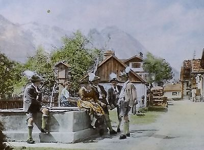 Village Street in Garmisch, Magic Lantern Glass Slide (Bavaria, Germany)