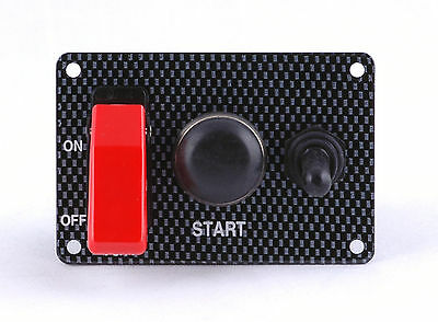 Ignition Switch Panel Carbon Fiber Look w/red flip cover & accessory switch