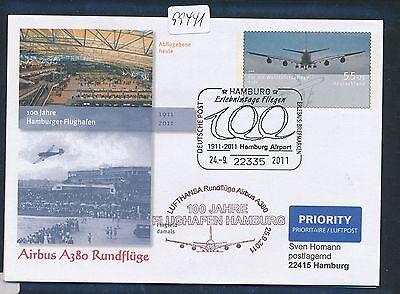 99441) LH A380 Rundflüge Hamburg 24.9.2011, Zudruck Plusbrief