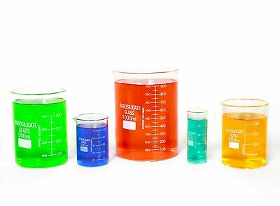 Glass Beaker Set Of 5 Borosilicate Low Form - 50ml 100ml 250ml 500ml 1000ml