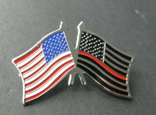 FIREFIGHTER FIRE FIGHTER HONOR FLAG LAPEL HAT PIN THIN RED LINE 1.5 INCHES