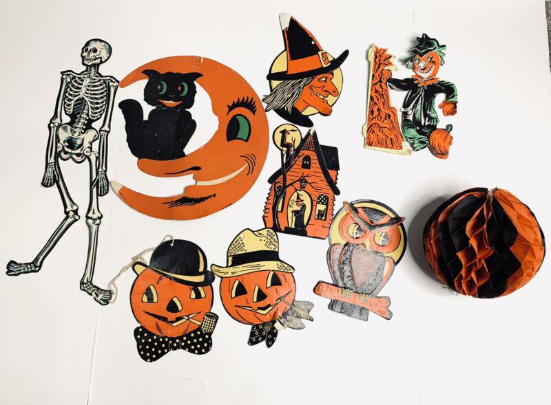 Vintage Halloween Die Cut Lot Beistle USA Witch Pumpkin