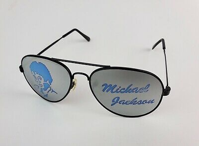 Vintage 1980's Michael Jackson Blue Photo & Name Aviator Sunglasses (Michael Jackson Aviators)