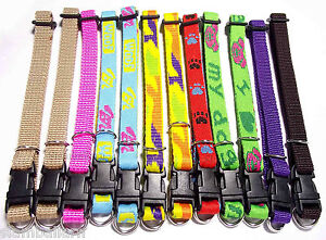Wholesale Lot of 12 Nylon Collars Small Puppy Pet Dog/ Cat Adjustable