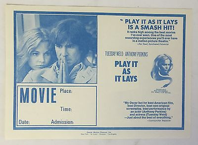 Distributor's Promo movie Flyer ~ PLAY IT AS IT LAYS, 7 x 9.5