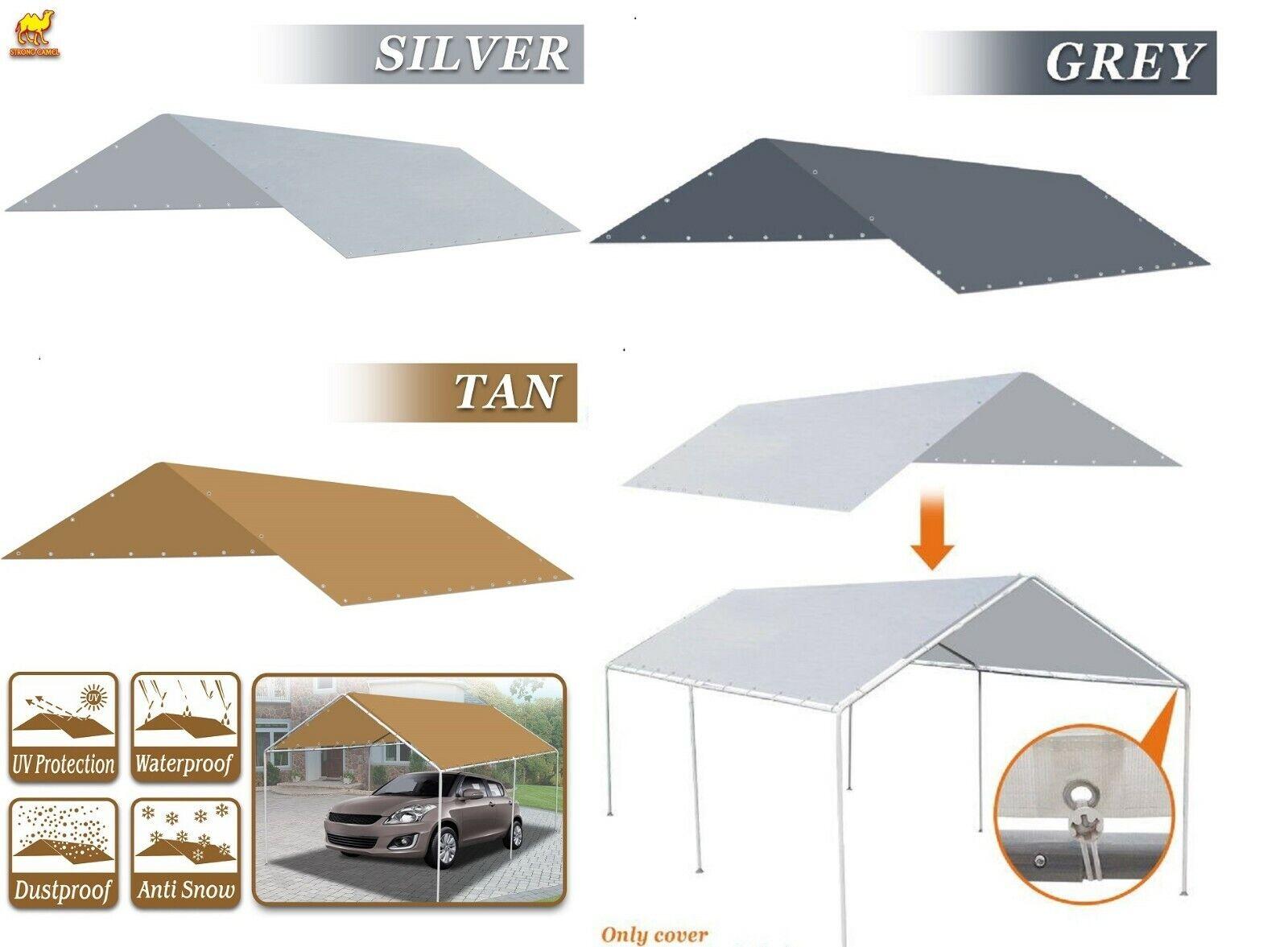 Waterproof Replacement Canopy 10x20 Ft Carport Tent Top Gara