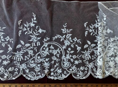 19th C. Brussels bobbin lace applique deep flounce scrolling ribbon and flowers