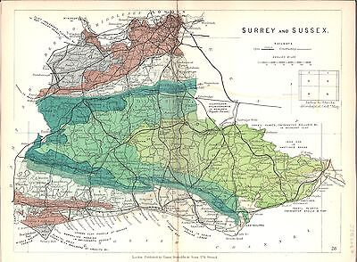 Antique map, Surrey and Sussex
