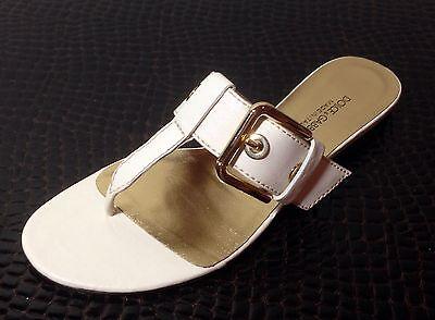 DOLCE & GABBANA light cream nude flat thong sandals gold logo buckle size 7
