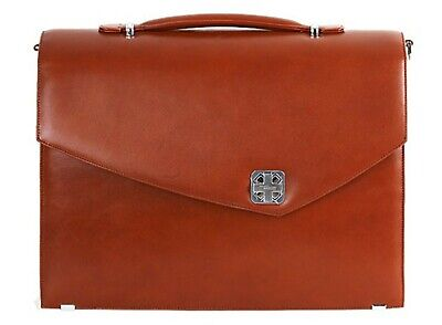 Aaron Irvin Double Gusset Flap Briefcase (Brown)