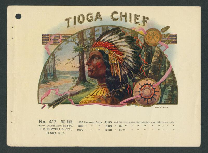 Tioga Chief Seneca Indian Tribe Original Antique Cigar Box Label Vintage Art
