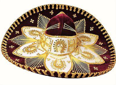 Adult Mexican Mariachi Hat Sombrero Charro Cinco de Mayo Burgundy Gold