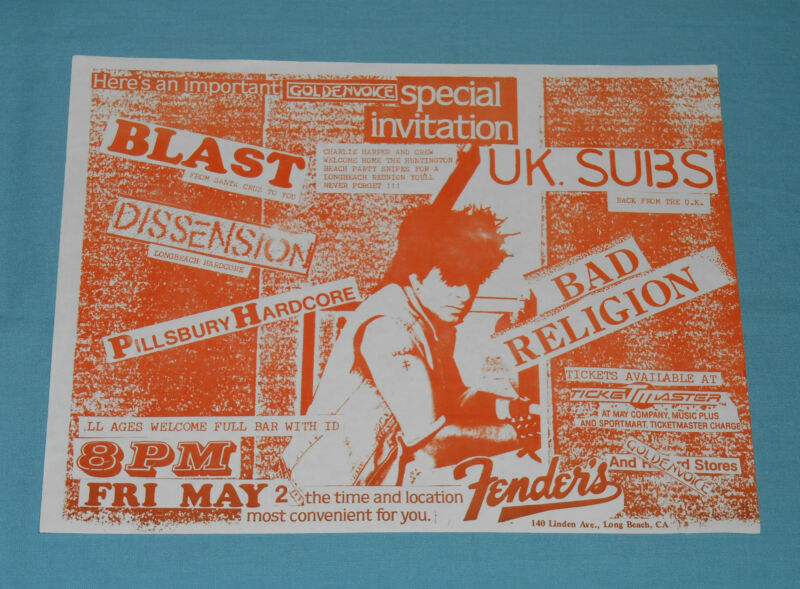 vintage original BAD RELIGION FLYER punk UK Subs Blast Dissension