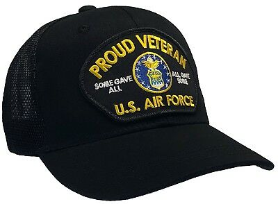 U.S. Air Force Veteran Hat Black MESH BACK Ball Cap PROUD VETERAN SERIES
