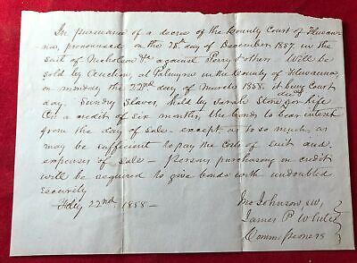 RARE 1858 Original Fluvanna County VA COURT ORDERED SALE OF SLAVES Document ADS