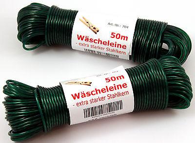 Wäscheleine GRÜN 50m mit Stahleinlage Stahlseil Wäsche Leine Schnur extra stark