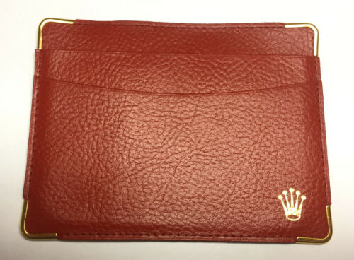 NEW - ROLEX RED LEATHER CARD HOLDER WALLET