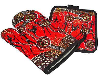 Australian Aboriginal Oven Mitt Pot Holder Set Hunters & Gatherers of the Land Land Pot Holder