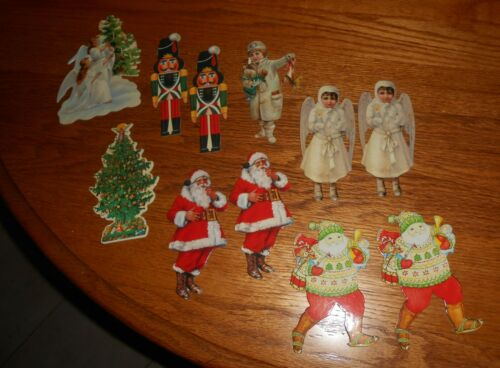 LOT OF VINTAGE LOOK CHRISTMAS GLOSSY CARD STOCK CUT OUTS