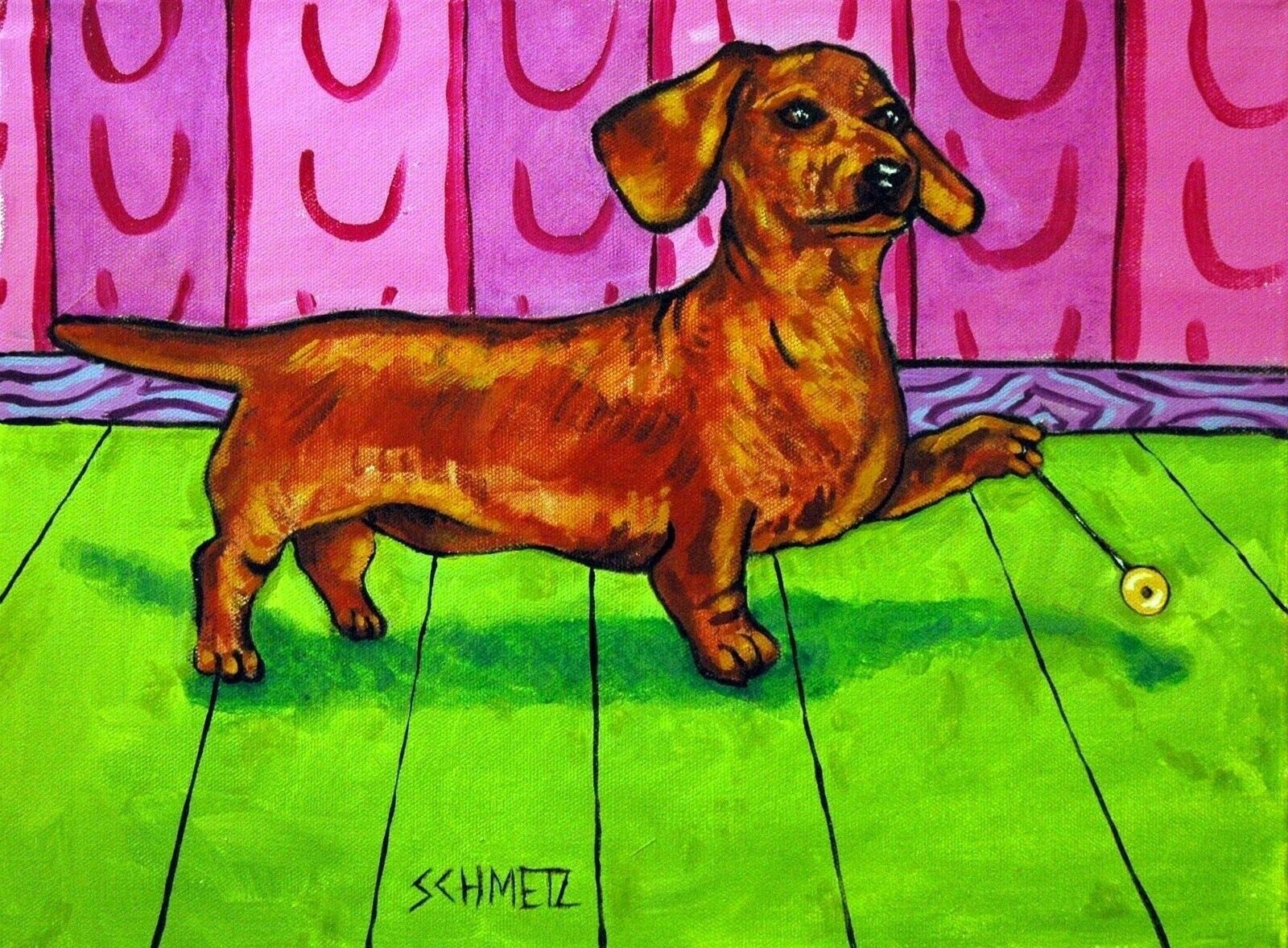 Dachshund sleeping with green blanket bedroom art  dog print 4x6 glossy