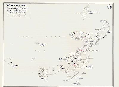 WW2 The War with Japan- Okinawa Campaign - 3 War Strategy Vintage Maps 1945