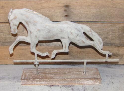 FARMHOUSE Weathervane Weather Vane Horse on Wooden Base Rustic White One-Sided