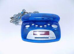 Timex Nature Sounds AM/FM Alarm Clock Memory Telephone T299L Translucent Blue