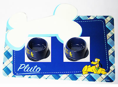 Pluto Disney Small Pet Puppy Dog Kitten Cat Blue Mat & Water Food Bowls Lot of 3