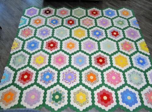"Vtg Antique Hand Stitched Quilt GRANDMOTHERS FLOWER GARDEN Quilted 89"" x 97"""