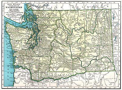 1947 Antique WASHINGTON Map of Washington State Map Gallery Wall Art 3707