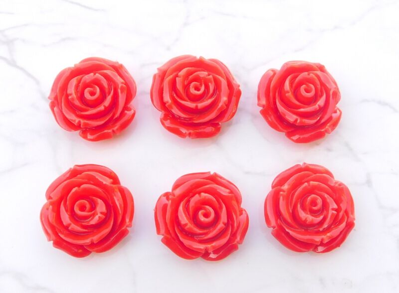 159 Cts 6 Pcs Coral Lot Loose Gemstone Fancy Flower Carving Lot 25.50 MM G-695