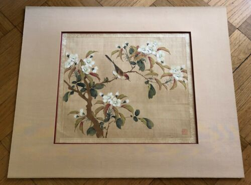 "ANTIQUE CHINESE /JAPANESE ""SPARROW & TREE"" WATERCOLOR PAINTING ON SILK. SEALED"