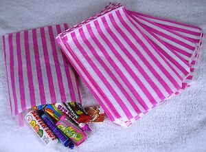100-Pink-White-Stripe-Paper-Sweet-Bags-Wedding-5-X-7