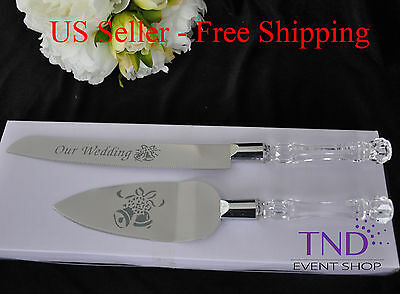 OUR WEDDING CAKE KNIFE AND SERVER SET EMBOSSED WITH WEDDING BELL DESIGN