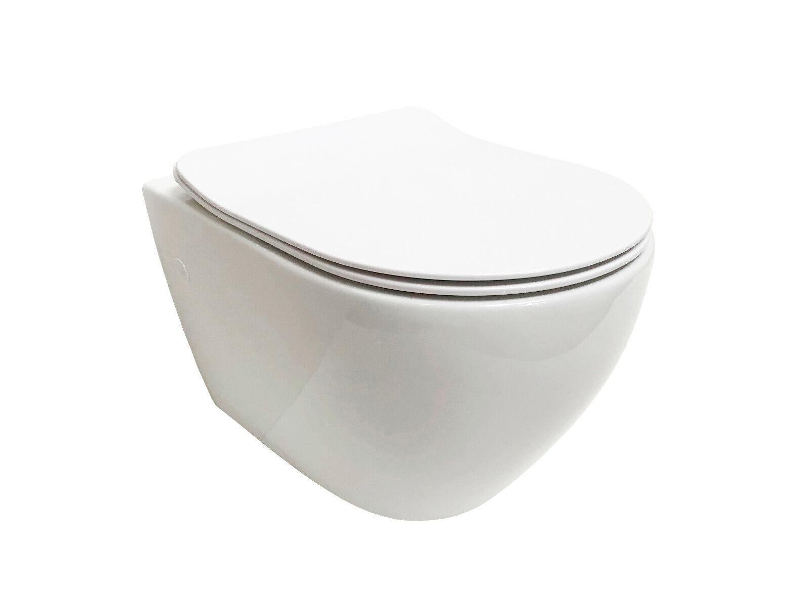ADOB, spülrandlose wandhängende WC Keramik Toilette, Spülrandlos weiss  28023