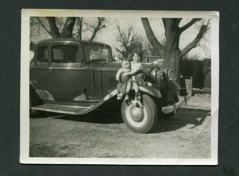 Vintage Car Photo Girl w/ Doll Toy & 1932 Ford w/ Custom Trim 397189