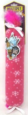 "Multipet Cat Toy Holiday Katz Kicker Catnip & Crinkle Sound Feathers 17"" Pink"