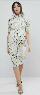 Hope And Ivy Maternity Dress Pastel Green Floral Print Size 14