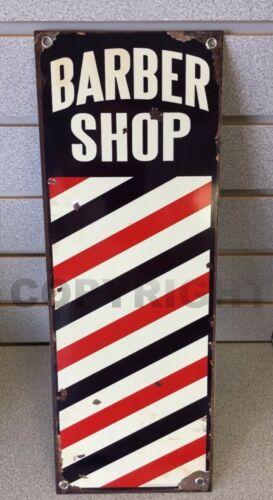 Barber Shop Pole Hair Cut Vintage Reproduction Aluminum 16.75 x 6 Sign