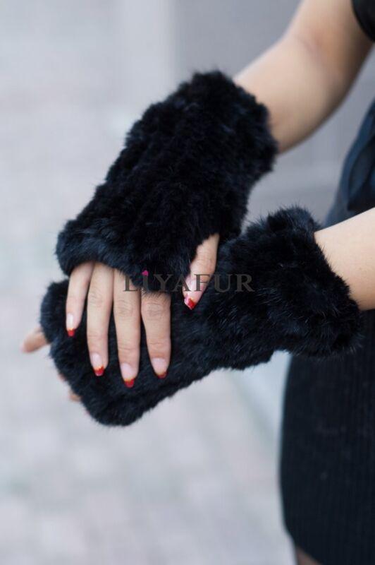New 100% Real Genuine Knit Mink Fur Winter Warm Fingerless Soft Gloves Mittens
