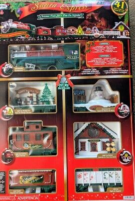 SANTA EXPRESS Christmas Tree Holiday Huge Train Set EZTEC 41 Pcs Box Light Sound