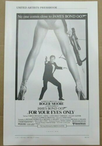 FOR YOUR EYES ONLY ORIGINAL PRESSBOOK 1981 NO CUT OUTS JAMES BOND ROGER MOORE