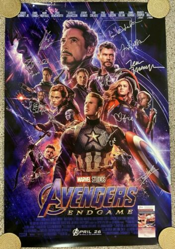 Avengers: Endgame Double-Sided Theatrical poster - Signed by 11 cast members JSA