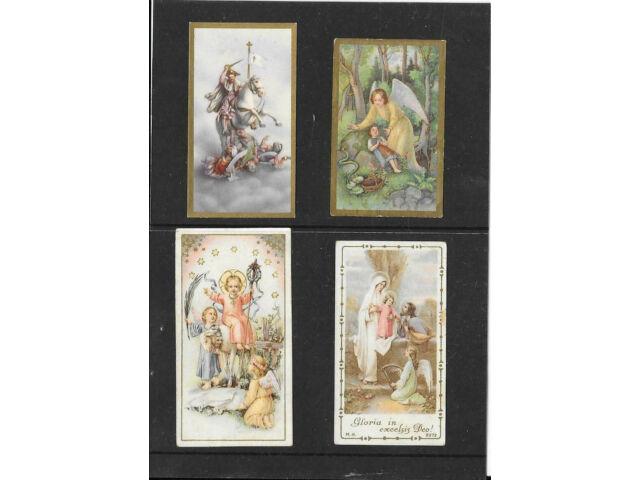 Vier  Andachtsbilder,  Erzengel, hl Georg, hl Familie,  - um 1920 !  (18)
