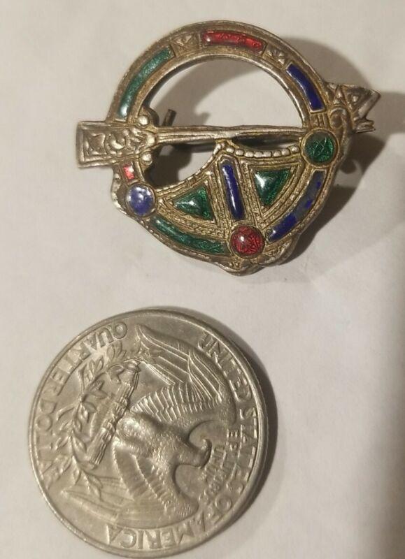 Beautiful Antique Celtic Tara Enamel Brooch